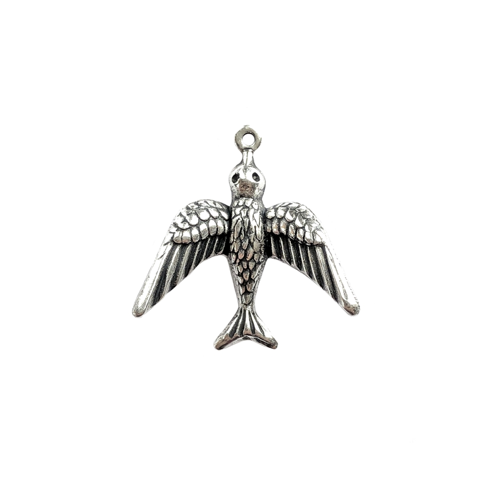 flying bird pendant, silverware silverplate, antique silver, bird, flying bird, silver, silver bird, charm, pendant, 23x22mm, US made, nickel free, stamping, bird stamping, silverplate, silverware, jewelry making, jewelry supplies, B'sue, 092
