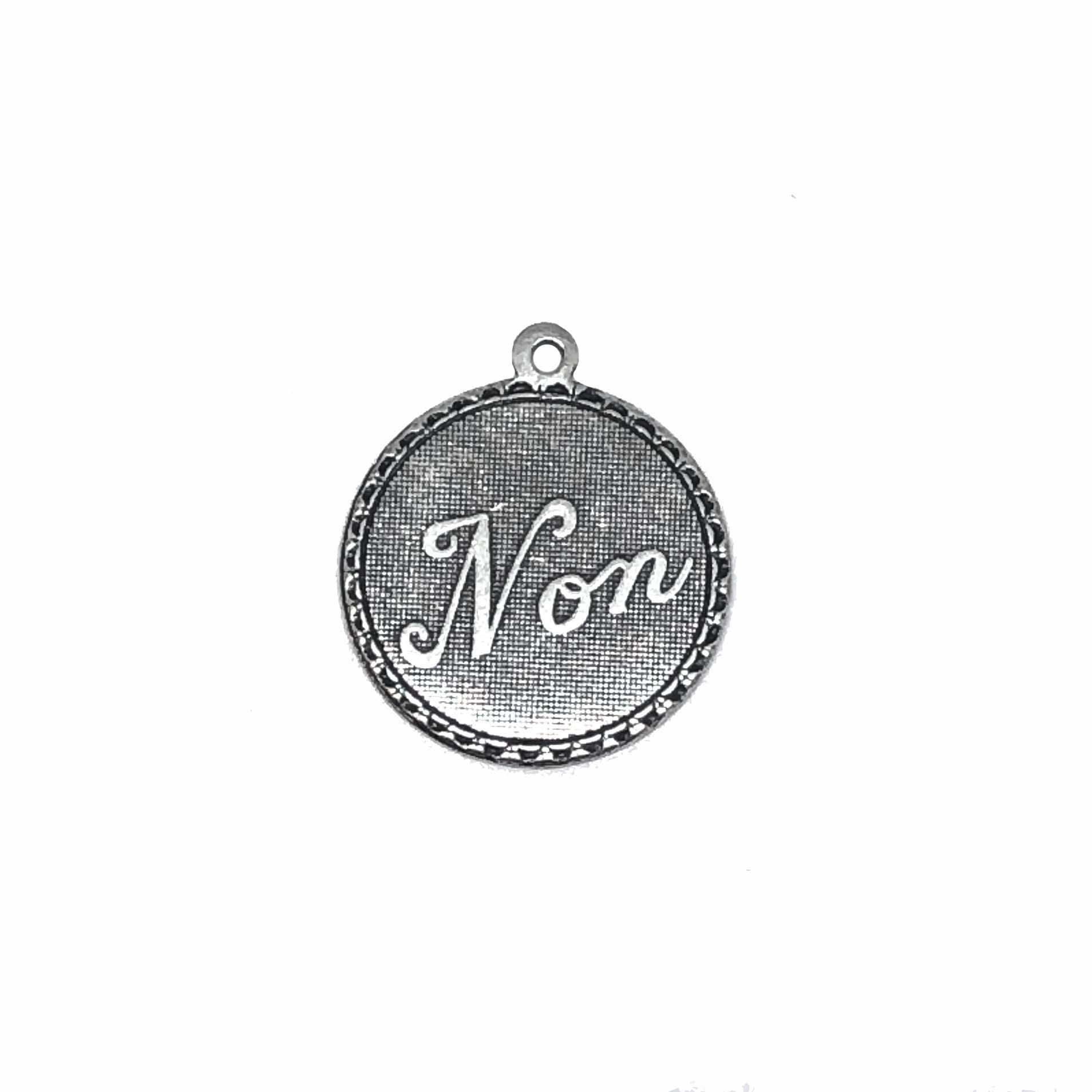French Non Charms, No, Brass Stamping, Pendant, Silverware Silverplate, 19mm