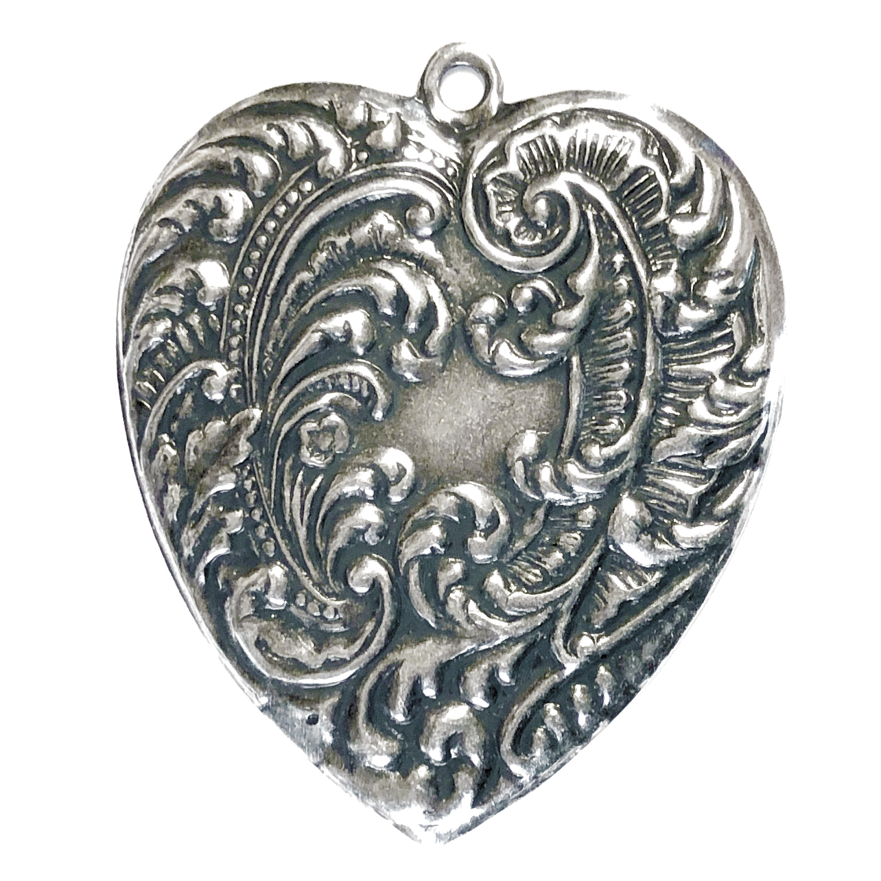 feathery heart pendant, brass stamping, silverware silver plate, nickel free, us made, 54mm, pendant, heart, heart pendant, jewelry findings, B'sue Boutiques, jewelry supplies, vintage supplies, jewelry making, antique silver, black antiquing, 09414