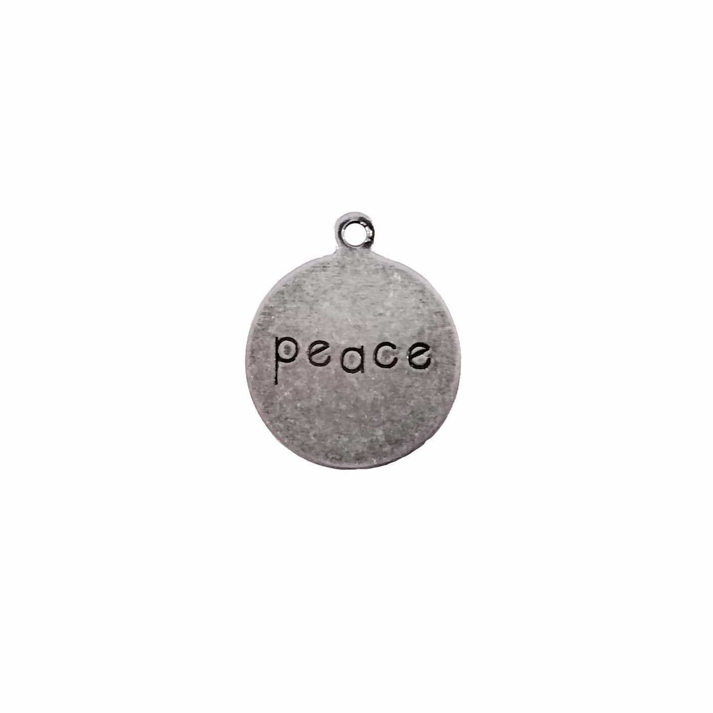 peace charm, peace pendant, peace jewelry, brass stampings, vintage jewelry findings, 12mm, top hanging, silverware, nickel free, charm jewelry, charm, vintage 60's style, 60's style jewelry, B'sue Boutiques, silverplate, antique silver, 09457