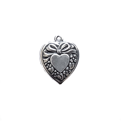 puffy heart charms, brass charms, 09479, puffy hearts, silverware silver plate, antique silver, vintage jewelry supplies, jewelry making supplies, US made, nickel free, bsueboutiques
