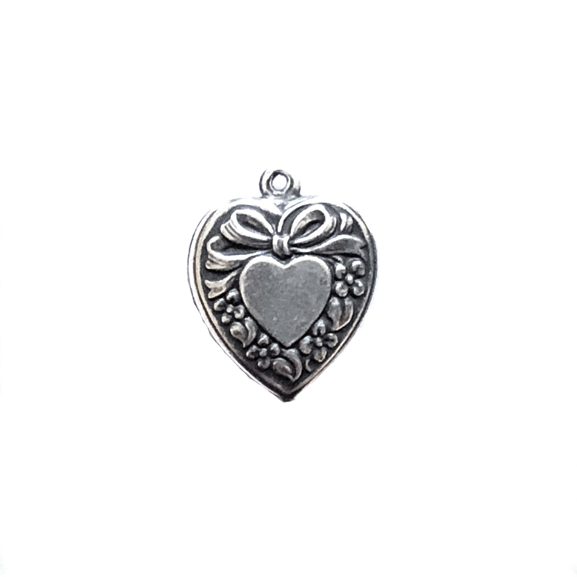 Brass Puffy Heart Charms, Pendants, Silverware Silverplate, 18 x 16mm