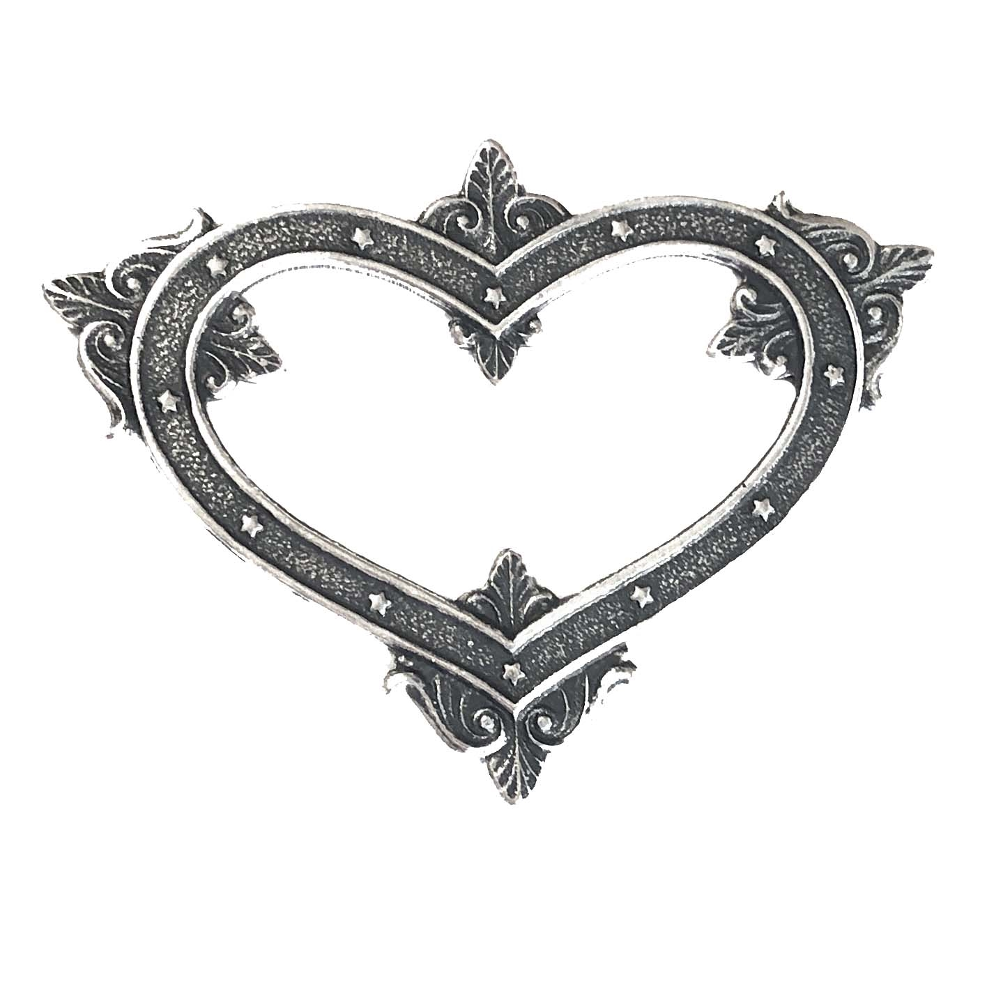 Victorian backless heart stamping, silverware silver plate, backless, heart, brass stamping, backless heart, brass, US made, nickel free, B'sue Boutiques, jewelry making, jewelry supplies, vintage supplies, Victorian design, 09590