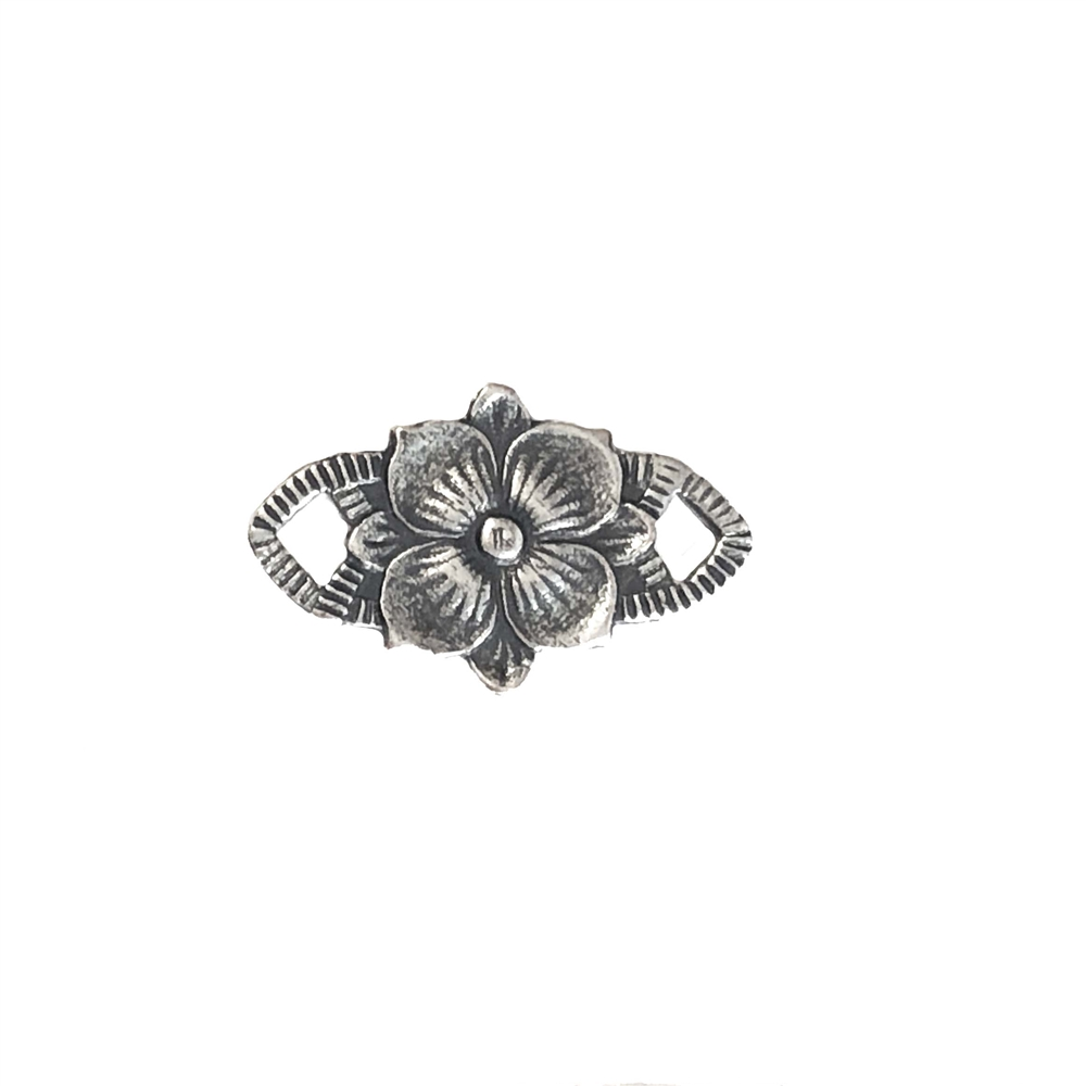 rosette, connector, jewelry making, jewelry supplies, flower connector, Victorian, vintage brass, black antiquing, brass jewelry, vintage supplies, jewelry connectors, B'sue Boutiques, connector, flower, silverware silver plate, 09592