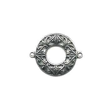 Filigree Connector,  Circlet, Silverware Silverplate, 22mm With Holes