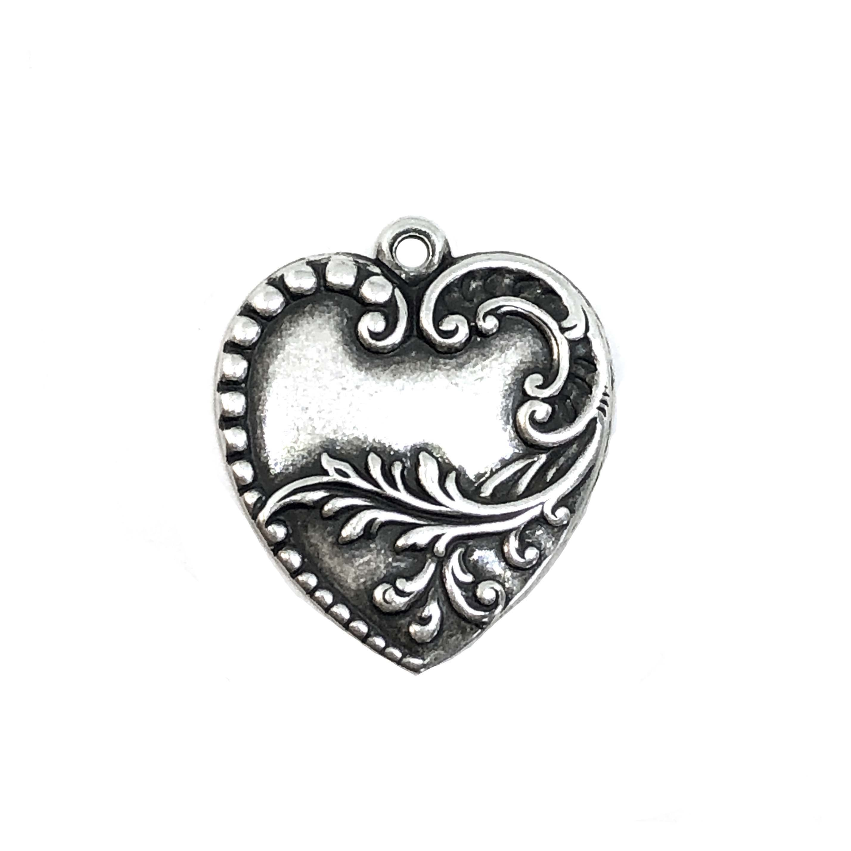 silverplate floral heart charm, heart. charm, silverware, silverplate, heart charm, stamping, silver, floral, floral heart, floral design, brass hearts, 28 x 24mm, us made, nickel free, jewelry findings, jewelry making, vintage supplies, 09713