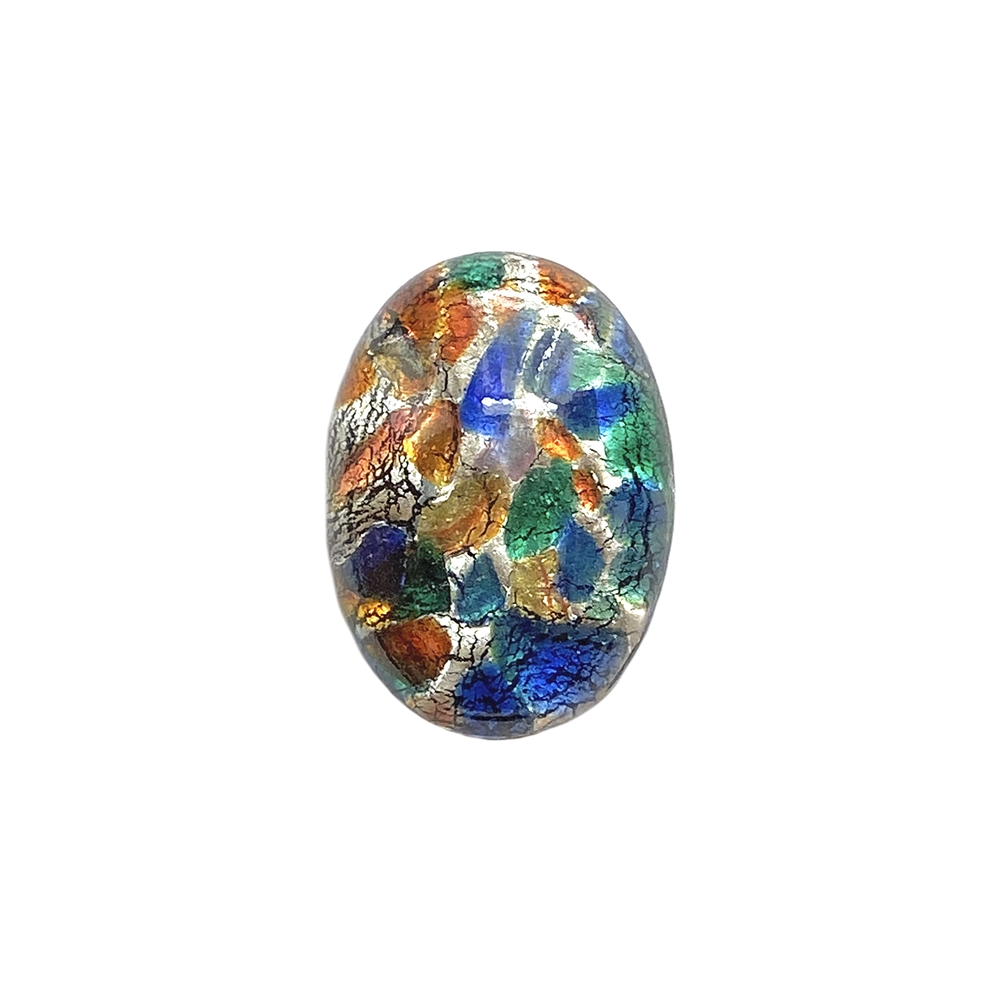 multicolor black opal, Czech, Preciosa, opal, lampwork stone, stone, multicolor black opal stone, oval stone, 25x18mm, simulated imitation, hand-worked glass, glass, glass stone, multicolor, cabochon, B'sue Boutiques, jewelry stone, jewelry making, 01406