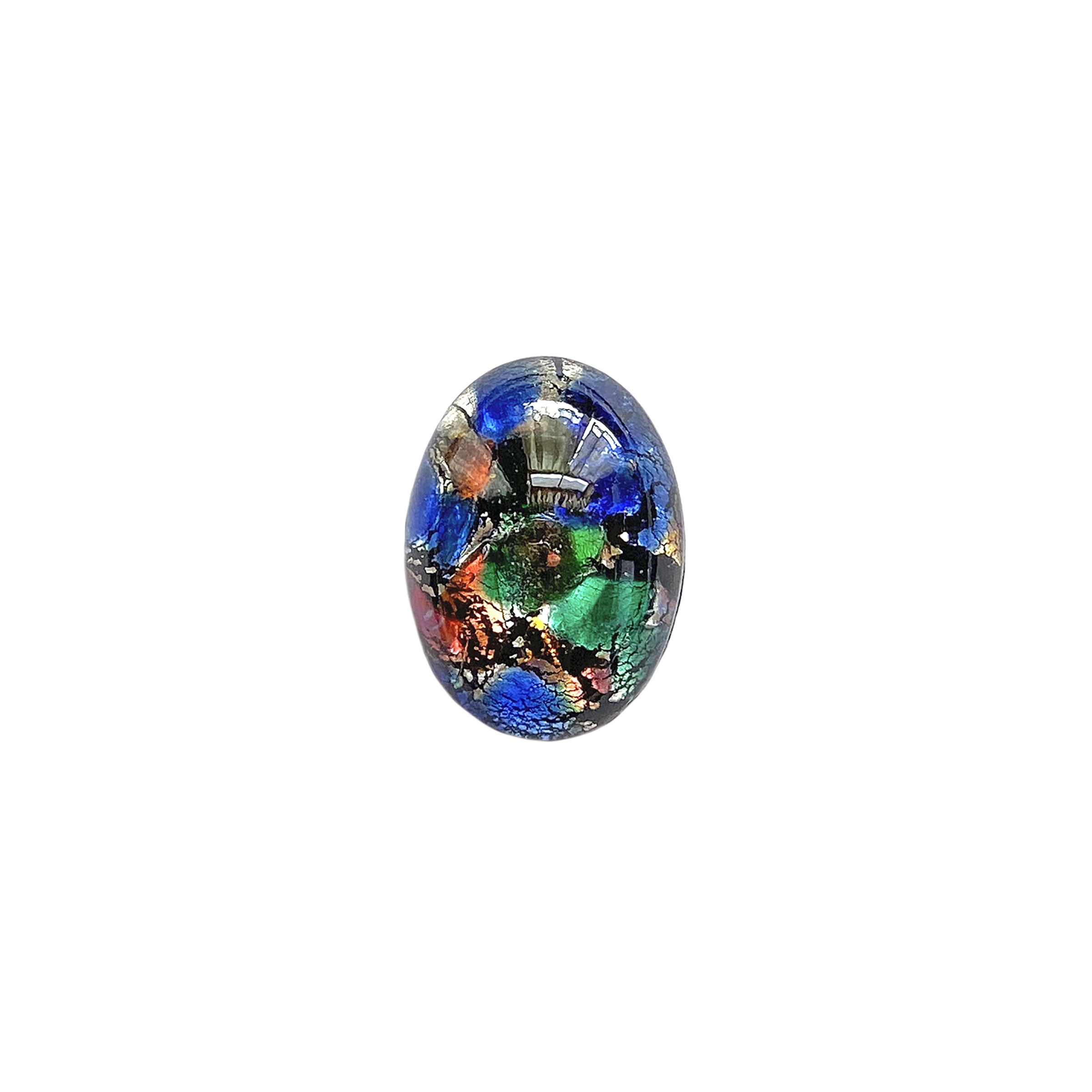multicolor black opal, Czech, Preciosa, opal, lampwork stone, stone, multicolor black opal stone, oval stone, 18x13mm, simulated imitation, hand-worked glass, glass, glass stone, multicolor, cabochon, B'sue Boutiques, jewelry stone, jewelry making, 01409
