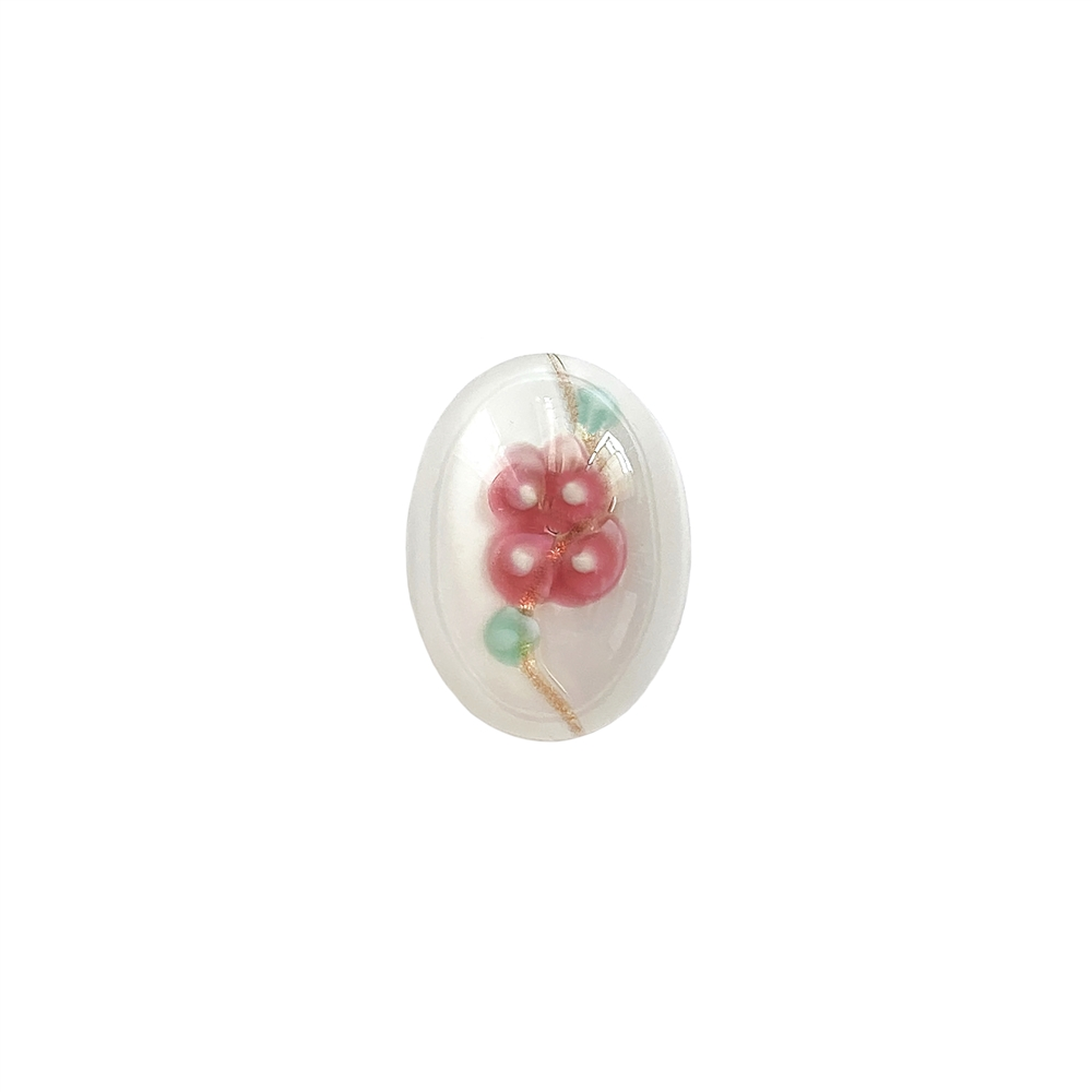 floral white lampwork cabochon, handmade, Czech, lampwork stone, lampwork cabochon, floral white stone, handmade stone, pink flower, floral inlay, 18x13mm, flat back stone, cabochon stone, jewelry cabochon, jewelry making, vintage supplies, 01410