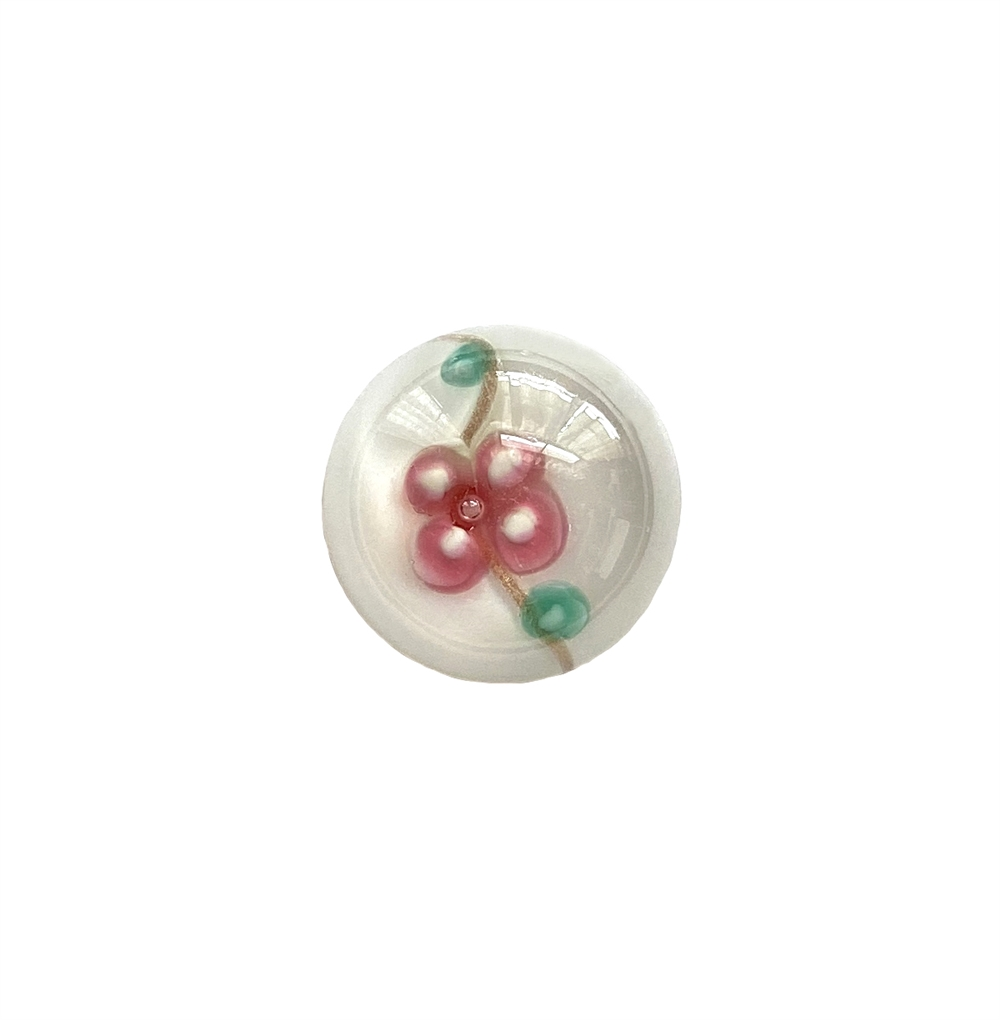 floral white lampwork cabochon, handmade, Czech, lampwork stone, lampwork cabochon, floral white stone, handmade stone, pink flower, floral inlay, 18mm, flat back stone, cabochon stone, jewelry cabochon, jewelry making, vintage supplies, 01412