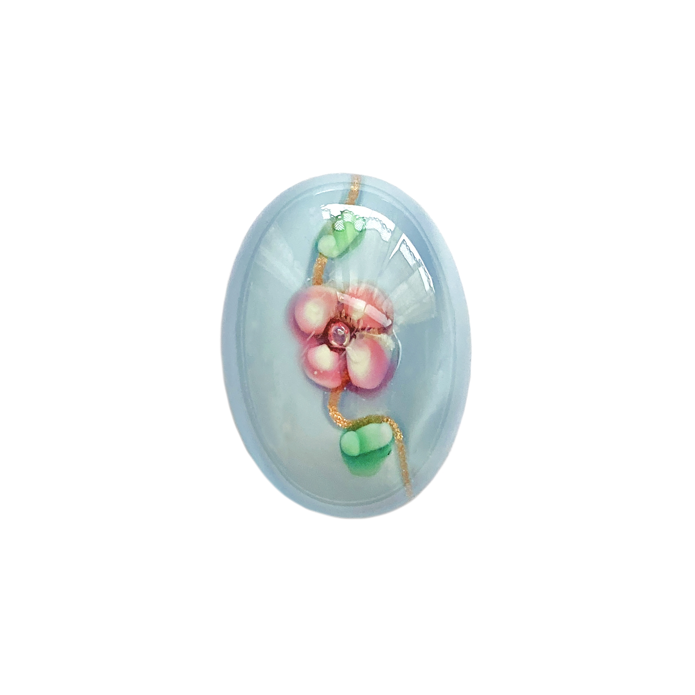 floral aqua lampwork cabochon, handmade, Czech, lampwork stone, lampwork cabochon, floral aqua stone, handmade stone, pink flowers, floral inclusion, 25x18mm, flat back stone, cabochon stone, jewelry cabochon, jewelry making, vintage supplies, 01496