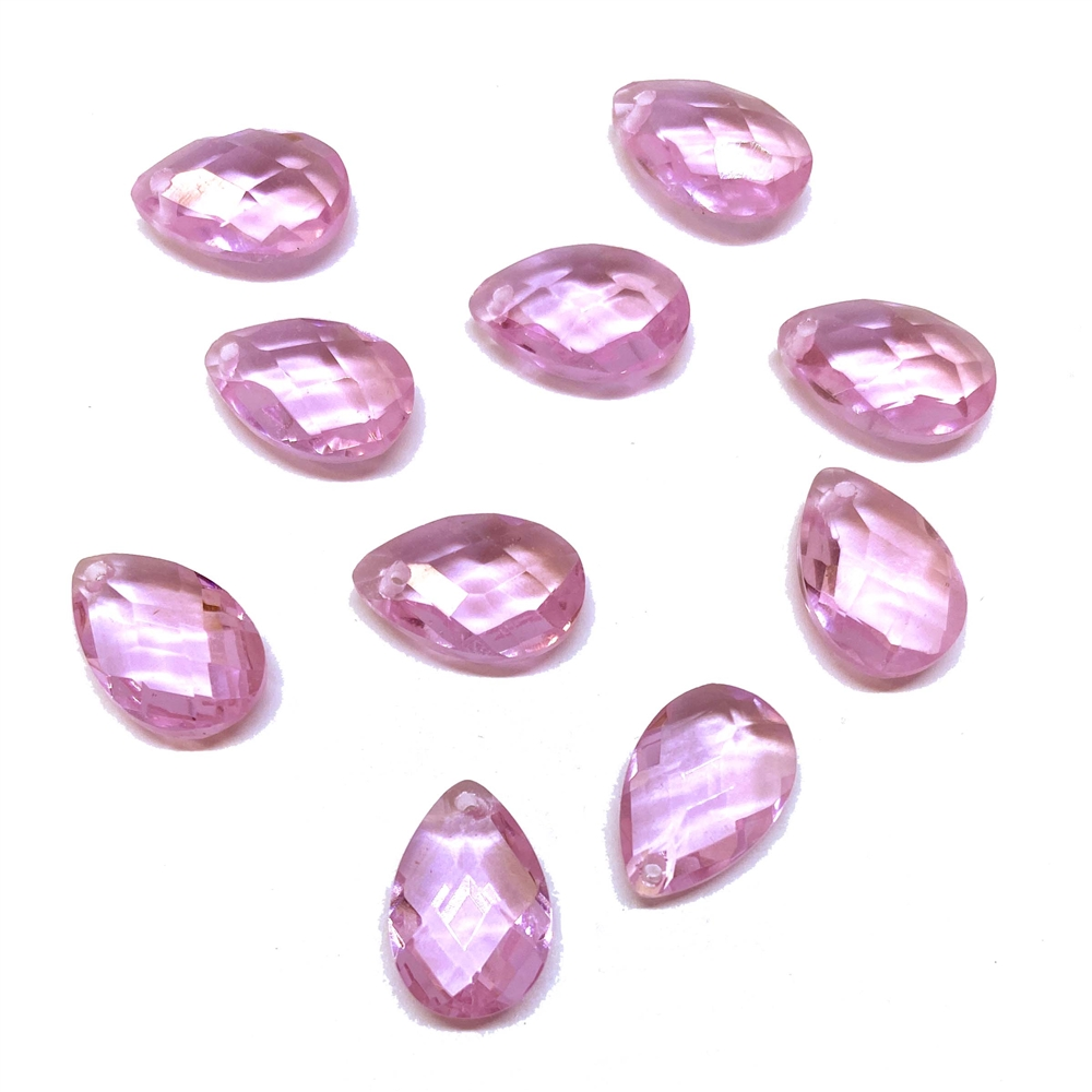 Glass teardrops, light rose pink, 01825, B'sue Boutiques, vintage jewelry supplies, vintage jewelry findings,  glass teardrops, glass earrings, glass pendants, faceted briolettes, briolette, 12 x 8, glass drops