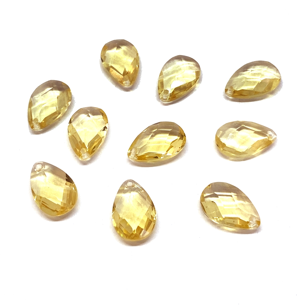 Glass teardrops, light golden topaz yellow, 01826, B'sue Boutiques, vintage jewelry supplies, vintage jewelry findings,  glass teardrops, glass earrings, glass pendants, faceted briolettes, briolette, 12 x 8, glass drops