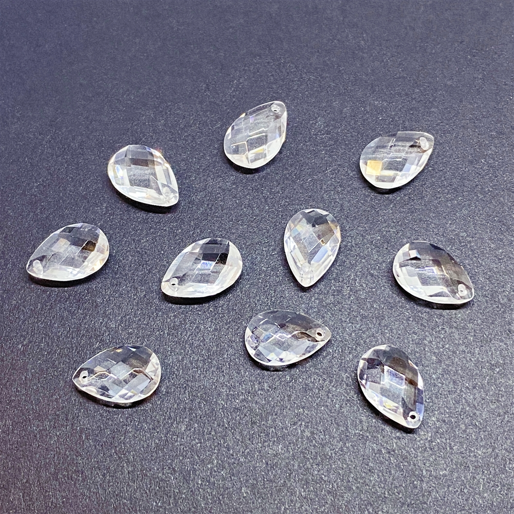 Glass teardrops, crystal clear, 01827, B'sue Boutiques, vintage jewelry supplies, vintage jewelry findings,  glass teardrops, glass earrings, glass pendants, faceted briolettes, briolette, 12 x 8, glass drops
