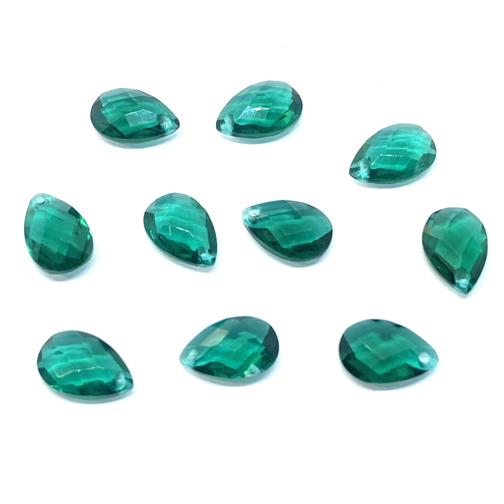 Glass teardrops, teal green, 01835, B'sue Boutiques, vintage jewelry supplies, vintage jewelry findings,  glass teardrops, glass earrings, glass pendants, faceted briolettes, briolette, 12 x 8, glass drops