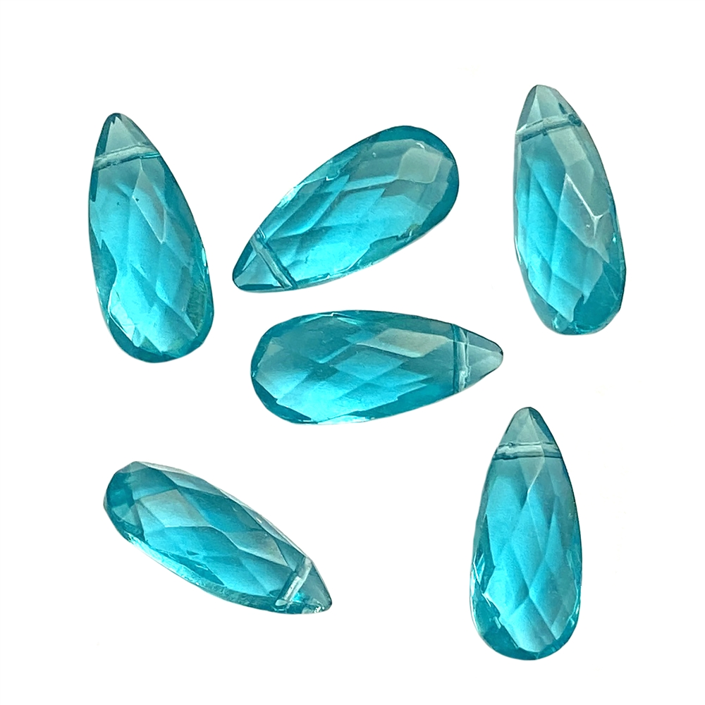 faceted aqua blue glass briolettes, aqua blue, glass briolettes, glass teardrops, glass earrings, glass pendants, faceted briolettes, sided drilled briolettes, briolettes, aqua blue briolettes, aqua briolettes, jewelry making, 18x8mm, 01992