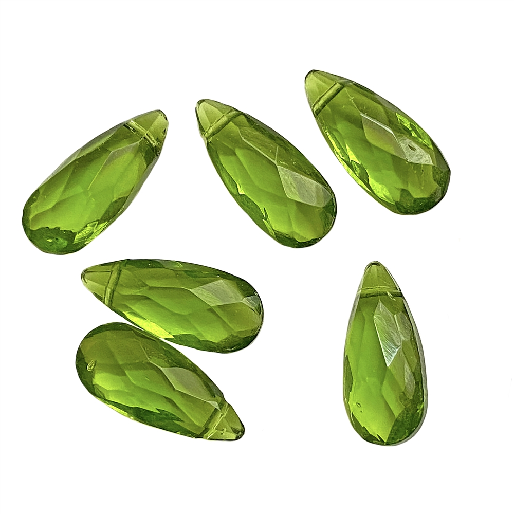 faceted peridot green glass briolettes, peridot green, glass briolettes, glass teardrops, glass earrings, glass pendants, faceted briolettes, sided drilled briolettes, briolettes, peridot green briolettes, green briolettes, jewelry making, 18x8mm, 01996