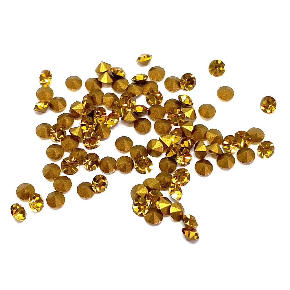 golden topaz chatons, 02006, rhinestones, gold, topaz chatons, rhinestone, chaton, SS8, PP17, chatons, Bsue Boutiques, pointed back, point back rhinestones, jewelry supplies 2.3 - 2.4mm, Czech, Preciosa