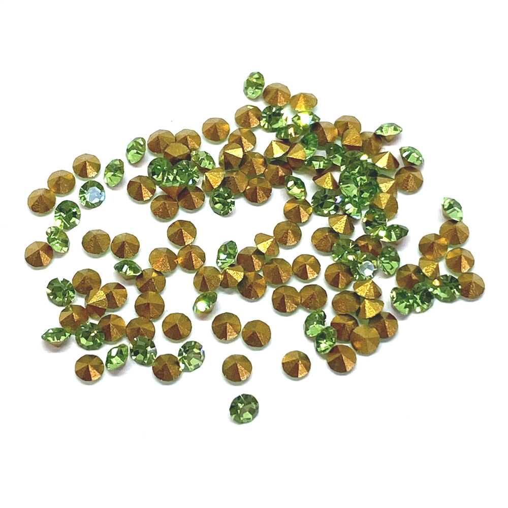 peridot green chatons, 02008, rhinestones, green, peridot chatons, rhinestone, chaton, SS8, PP17, chatons, Bsue Boutiques, pointed back, point back rhinestones, jewelry supplies 2.3 - 2.4mm, Czech, Preciosa