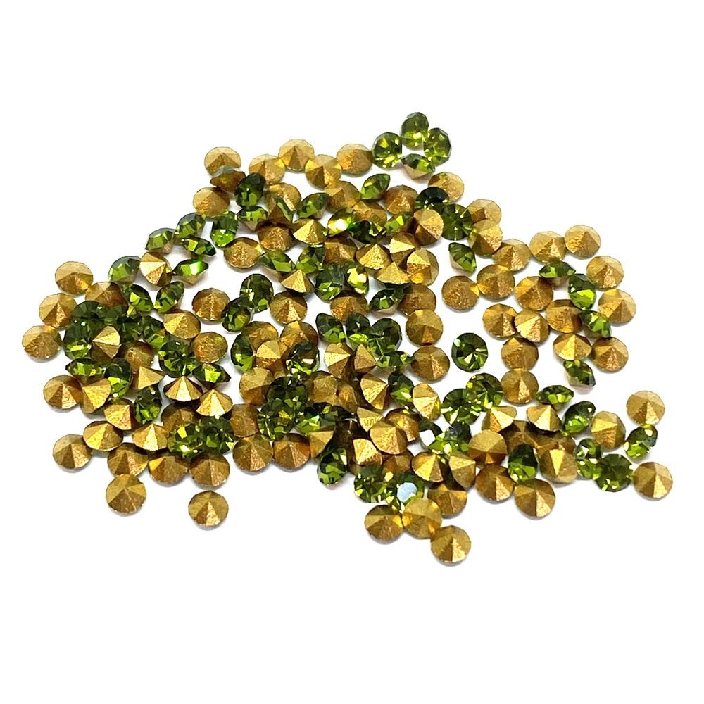 olivine chatons, 02026, rhinestones, olivine, green chatons, rhinestone, chaton, SS8, PP17, chatons, Bsue Boutiques, pointed back, point back rhinestones, jewelry supplies 2.3 - 2.4mm, Czech, Preciosa