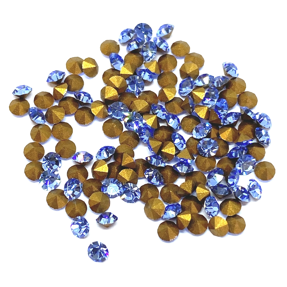 light sapphire chatons, 02028, rhinestones, light sapphire, light blue chatons, rhinestone, chaton, SS8, PP17, chatons, Bsue Boutiques, pointed back, point back rhinestones, jewelry supplies 2.3 - 2.4mm, Czech, Preciosa