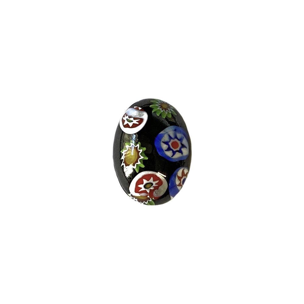 Czech glass stones, black with fiesta colors, glass stone, black millefiroi, glass cabochon, cabochon, Czech stone, millefiori cabochon, jewelry supplies, vintage supplies, 18x13mm stone, flatback stone, handmade cabochon, jewelry making, 02722
