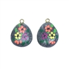 hippie stones, flower pebbles, 02775, stones with bails, hippie, hand painted stones, hand-painted, painted rocks, hippie earrings, B'sue