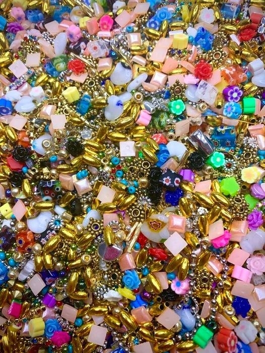 bead mosaic mix, Czech glass beads, flower, pearls, metal beads, cut leaves, tube beads, slice fruits, seed beads, mosaic bead mix, designer beads, vintage supplies, mosaic beads, jewelry supplies, jewelry making, jewelry findings, 02915