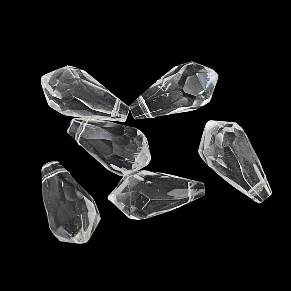 crystal faceted briolette drops, crystal, glass briolettes, glass teardrops, glass earrings, glass pendants, faceted briolettes, sided drilled briolettes, briolettes, crystal clear briolettes, crystal briolettes, jewelry making, 18x9mm, 02950