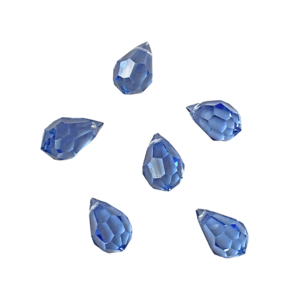 light sapphire faceted briolette drops, light sapphire, glass briolettes, glass teardrops, glass earrings, glass pendants, faceted briolettes, sided drilled briolettes, briolettes, sapphire briolettes, crystal briolettes, jewelry making, 10x6mm, 02951