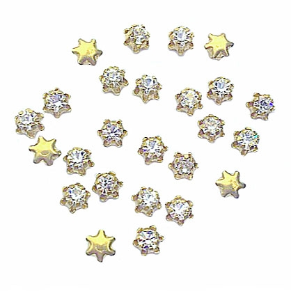 vintage crystal clear star swarovski stones, crystal clear, star shape drops, charms, mounted stone, glass, glass stones, brass, vintage supplies, US made, 3mm, jewelry making, jewelry supplies, swarovski stones, star drops, 02953