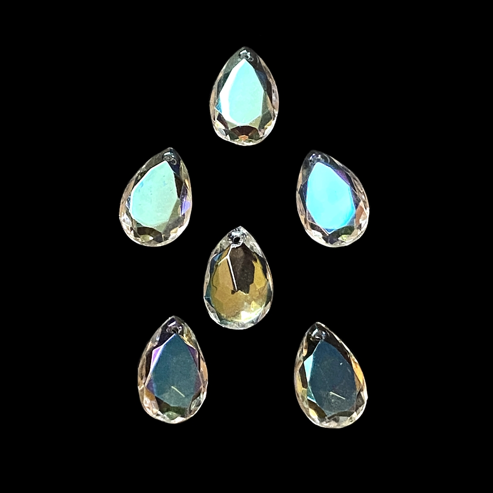 crystal AB faceted pear drops, crystal AB, glass pears, glass teardrops, glass earrings, glass pendants, faceted pear drops, sided drilled pear drops, briolettes, crystal AB pear, crystal AB pear drops, jewelry making, 13x8mm, 02957