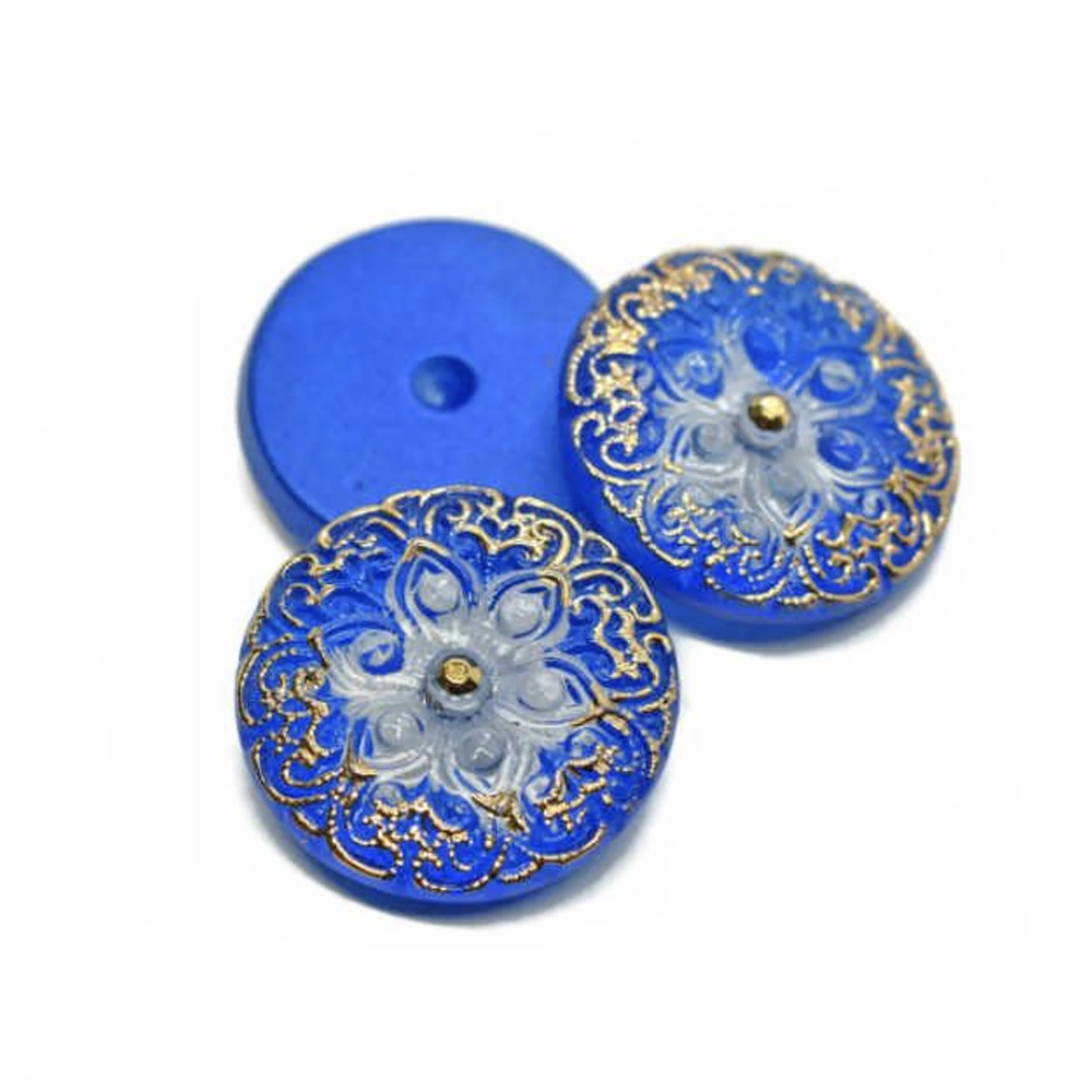 Czech glass, Preciosa, lampwork stone, stone, cobalt with gold accents, round stone, 18mm, hand-worked glass, glass stone, cabochon, B'sue Boutiques, jewelry stone, jewelry making, pressed glass, cabochon, gem cabochon, glass button, Arabian star, 02963
