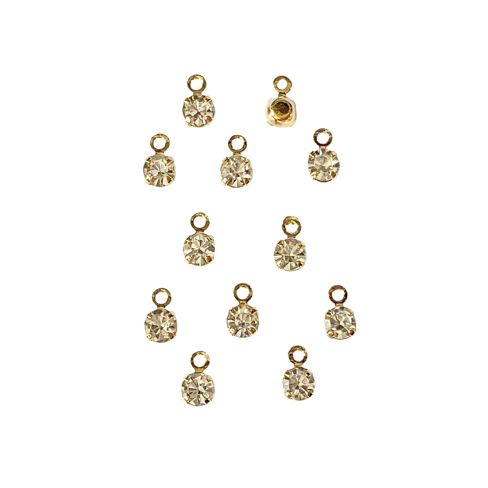 rhinestone charms, rhinestone, brass, 6x4mm, charm drops, drops, nickel free, jewelry findings, jewelry making, jewelry supplies, vintage supplies, B'sue Boutiques, jewelry charms, charms, rhinestone drops, gold plated, 02983