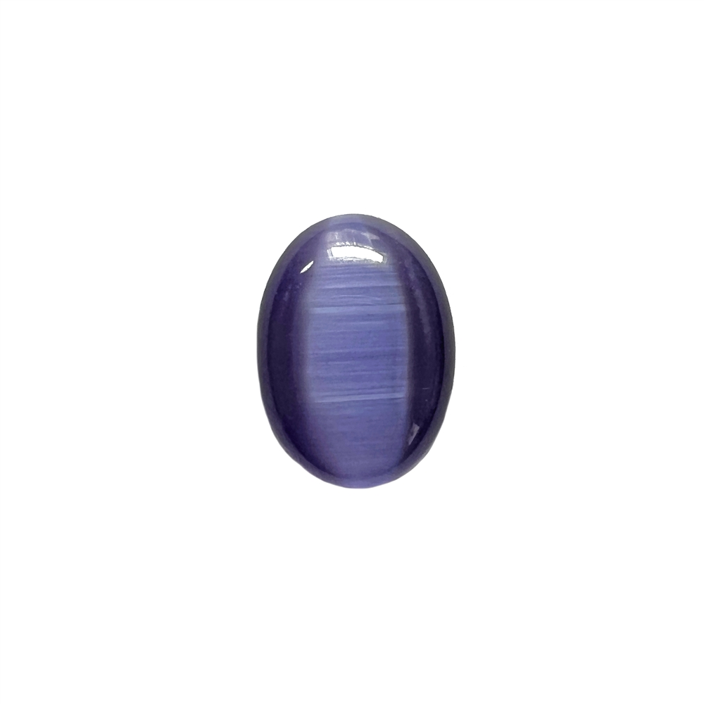 tanzanite cat's eye stone, focal stone, fiber optic, glass stone, glass, cat's eye, tanzanite stone, cabochon, transparent, oval, glossy shine, oval stone, US made, B'sue Boutiques, jewelry stone, 18x13mm, purple stone, purple glass stone, 042