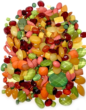 assorted epoxy resin designer stones, epoxy resin, designer stones, assorted, fiesta fruit salad, lucite, orange, coral, green, red, gold, faceted, cabs, , speckled, textured, epoxy resin cabs, assorted sizes, designer cabochons, assorted colors, 04914