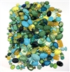 assorted epoxy resin designer stones, epoxy resin, designer stones, assorted, peacock mix, lucite, aqua, green, blue, turquoise, gold, faceted, cabs, clear stones, textured, epoxy resin cabs, assorted sizes, designer cabochons, assorted colors, 04938