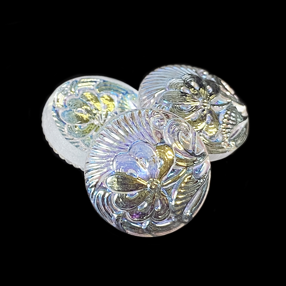 Czech glass, Preciosa, lampwork stone, stone, pincushion flower cabochon, round stone, 18mm, hand-worked glass, glass, glass stone, cabochon, B'sue Boutiques, jewelry stone, jewelry making, pressed glass, cabochon, gem cabochon, glass button, 05042
