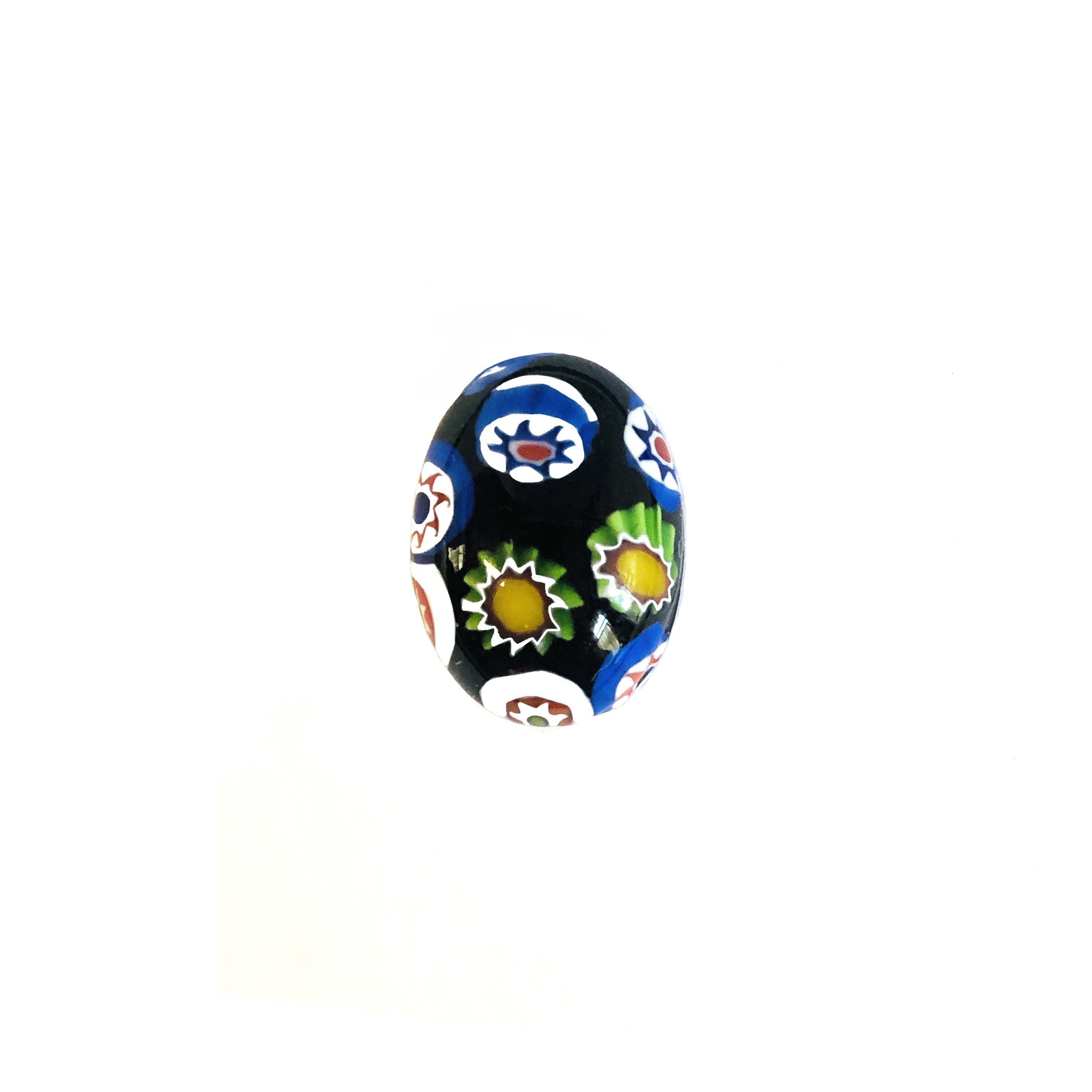 Czech Glass Stones, Glass Stones, black Millefiroi cabs, 0567, Millefiori cabochons, multi-colored stones, vintage jewelry supplies, Glass Cabs 18 x 13mm stones, flat back stones, Bsue Boutiques, handmade stones