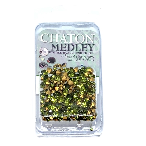 Olivine Green chatons, 06303, rhinestones, olivine, green rhinestones, olivine rhinestones, rhinestone, chaton, assorted sizes, chatons, Bsue Boutiques, pointed back, point back rhinestones, jewelry supplies, olive green