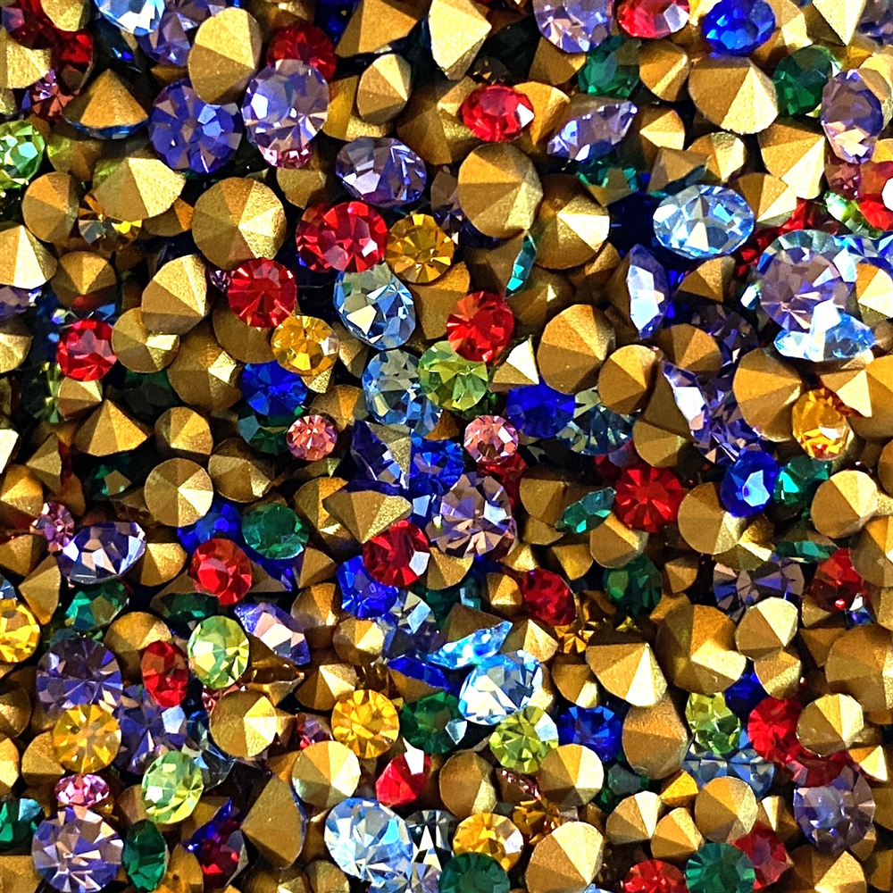 Czech Preciosa Chatons, mixed chatons, assorted chatons, mixed sized rhinestones, 06598, vintage jewelry supplies, B'sue Boutiques, jewelry making supplies, jewelry repair stones, assorted color rhinestones, assorted colors, rhinestones