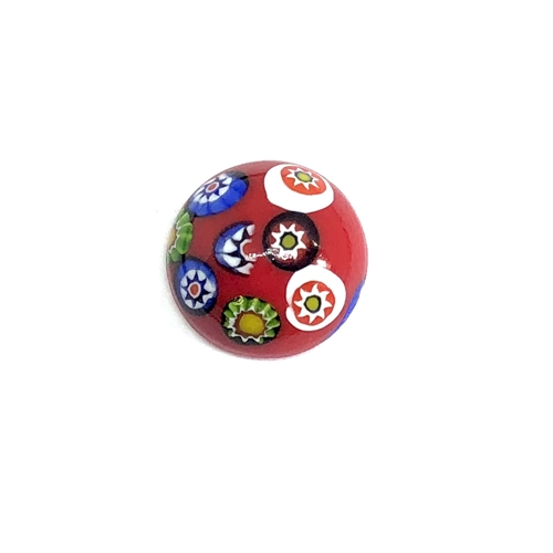 Czech Glass Stones, Glass Stones, red Millefiroi cabs, 06968, Millefiori cabochons, multi-colored stones, vintage jewelry supplies, Glass Cabs, 18mm stones, flat back stones, Bsue Boutiques, handmade stones