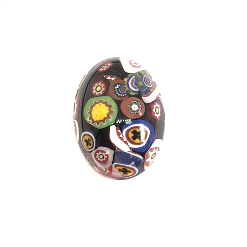 Czech Glass Stones, Glass Stones, black Millefiroi cabs, 06969, Millefiori cabochons, multi-colored stones, vintage jewelry supplies, Glass Cabs 25 x 18mm stones, flat back stones, Bsue Boutiques, handmade stones