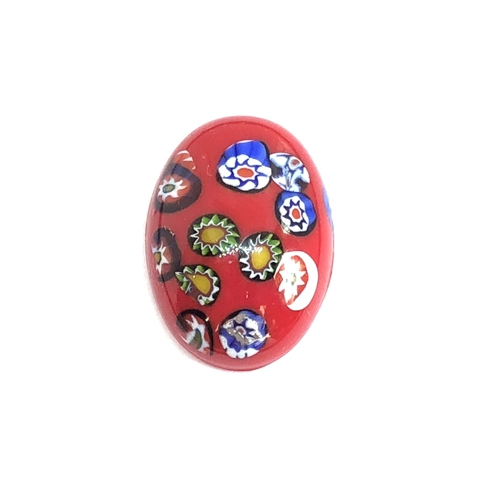 Czech Glass Stones, Glass Stones, red Millefiroi cabs, 06970, Millefiori cabochons, multi-colored stones, vintage jewelry supplies, Glass Cabs 25 x 18mm stones, flat back stones, Bsue Boutiques, handmade stones