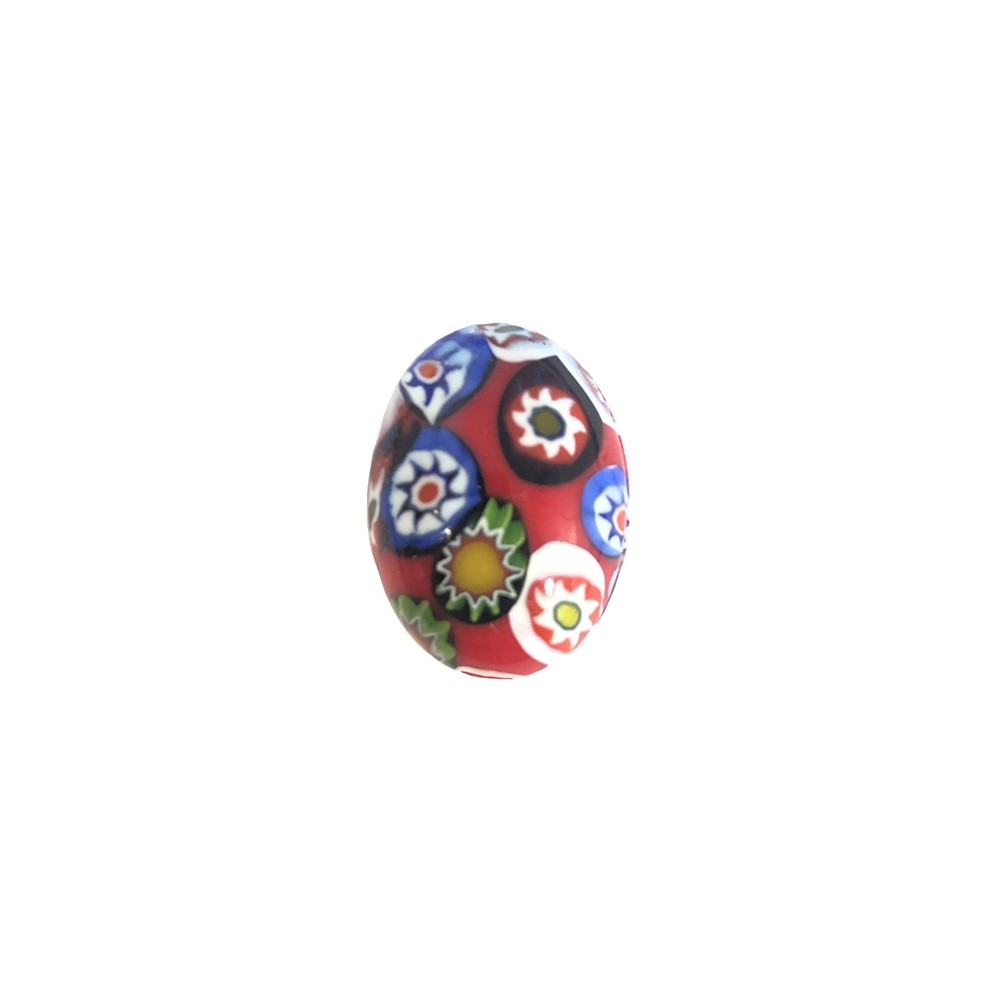 Czech Glass Stones, Glass Stones, red Millefiroi cabs, 06971, Millefiori cabochons, multi-colored stones, vintage jewelry supplies, Glass Cabs 18 x 13mm stones, flat back stones, Bsue Boutiques, handmade stones