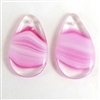 German glass tear drops, pink porphyry glass, 07115, B'sue Boutiques, German made jewelry, vintage jewelry supplies, vintage jewelry findings,  glass tear drops, glass ear rings, glass pendants,