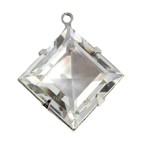 Swarovski Stone, Princess Cut, 07612, crystal clear, mounted stone, glass, glass stones, silver plated, vintage jewelry, US made, nickel free, 15mm, jewelry making, vintage supplies, B'sue Boutiques, jewelry supplies