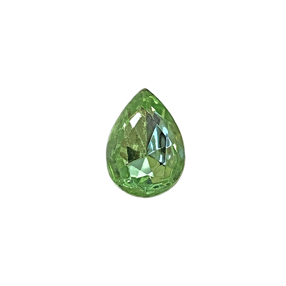 Czech glass pear stone, peridot, teardrop stone, glass stones, pear stones, vintage supplies, jewelry making, jewelry supplies, stones, B'sue Boutiques, gold foil back, point back stones, peridot stone, peridot pear stone, Czech, 07919