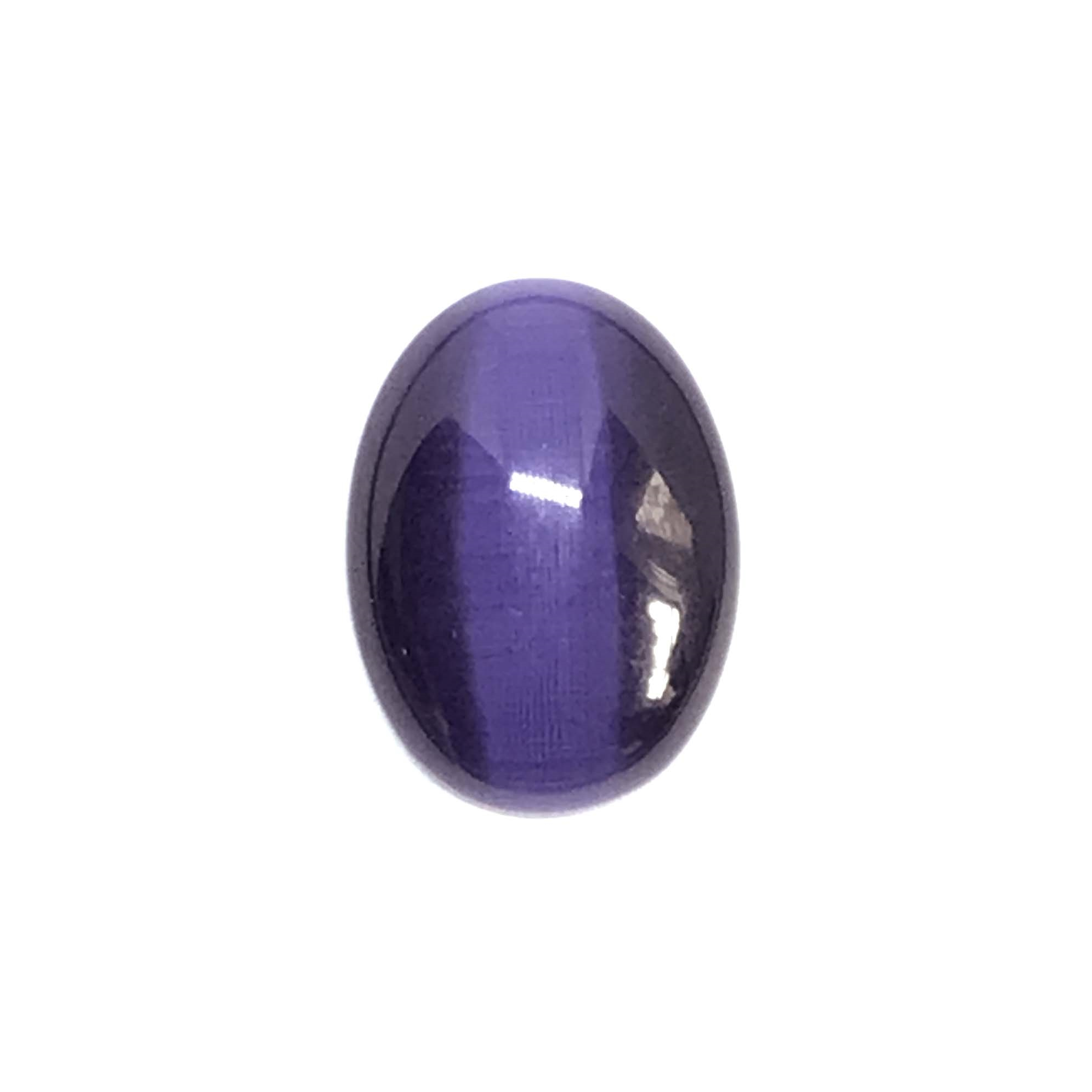 tanzanite cat's eye stone, focal stone, fiber optic, glass stone, glass, cat's eye, tanzanite stone, cabochon, transparent, oval, glossy shine, oval stone, US made, B'sue Boutiques, jewelry stone, 25x18mm, purple stone, purple glass stone, 0799
