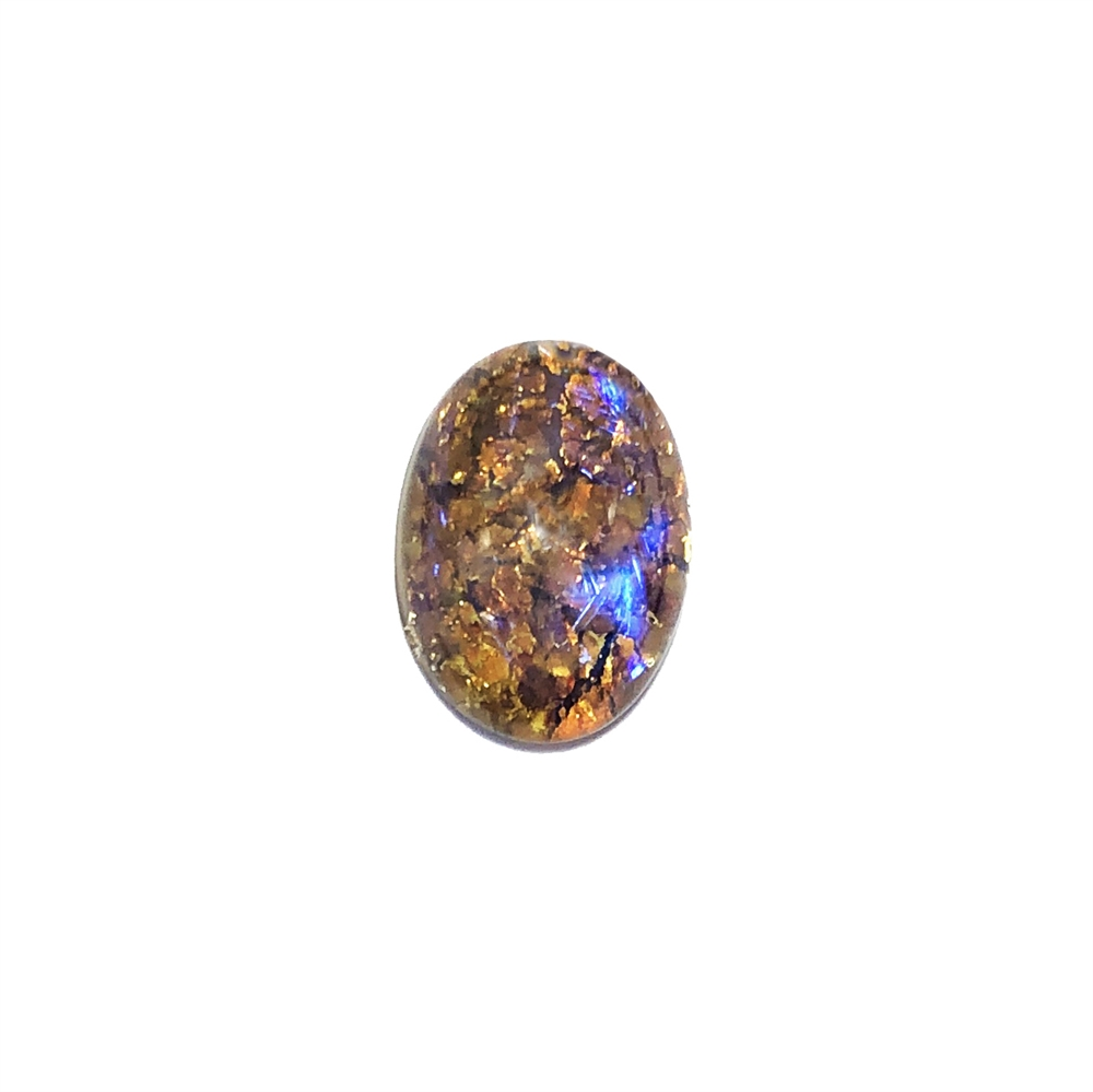 Czech topaz opal, stone, 18 x 13mm, opal, topaz opal, oval stone, simulated imitation, hand-worked glass, glass, glass stone, Czech, opal stone, b'sue boutiques, jewelry findings, 0816, blue violet, neutral colors